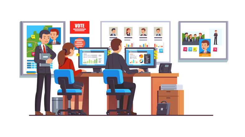 "Animation of three people with data on screens and posters, ""vote"" sign, candidate photos"