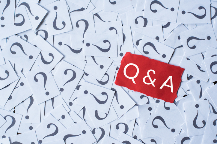 "question marks scattered with ""Q&A"" on top"