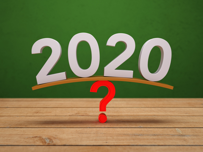 the numbers 2020 rests on top of a question mark