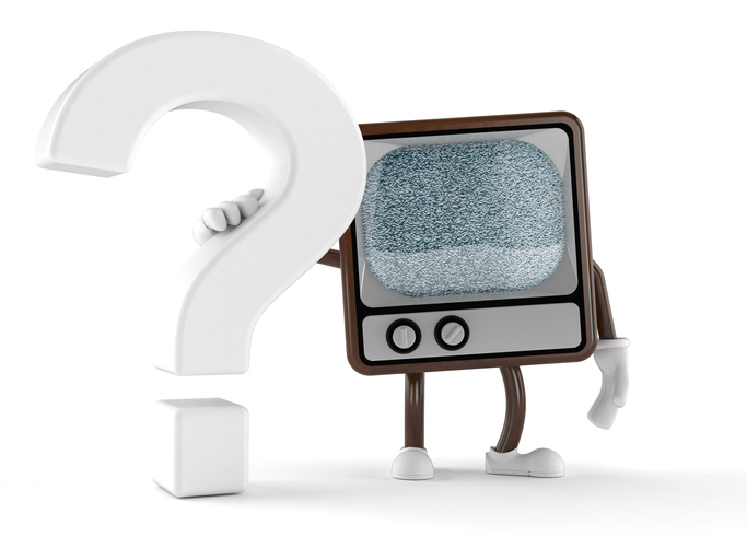 television with arms and legs puts arm around question mark
