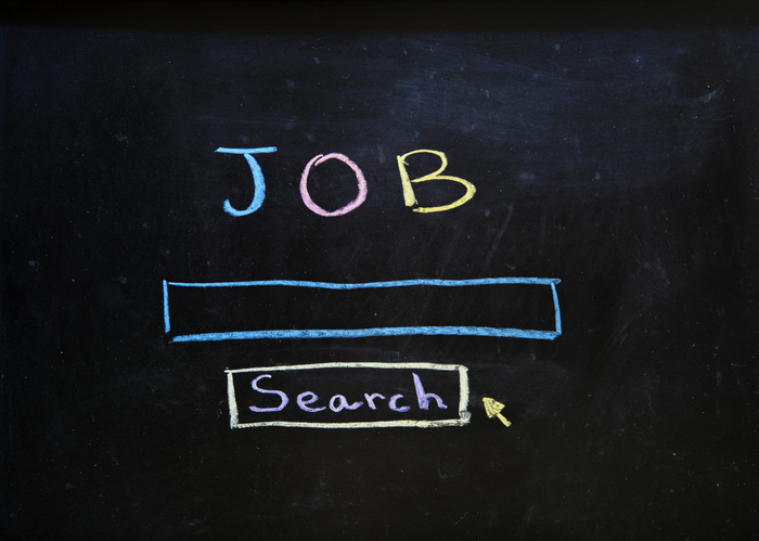 Chalkboard with search bar that says job search