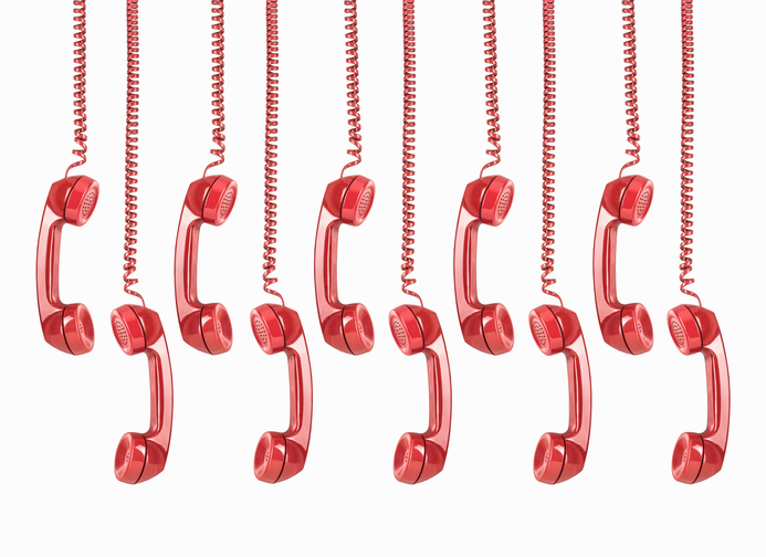 A picture of hanging red telephones for GOTV