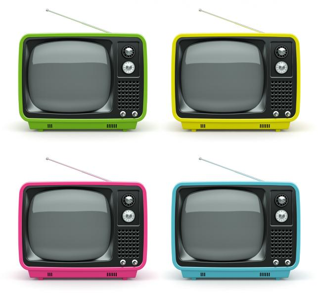 Four old school TVs - green, yellow, pink & blue