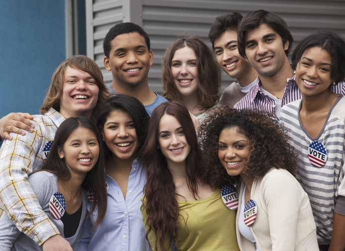Group of diverse, young voters