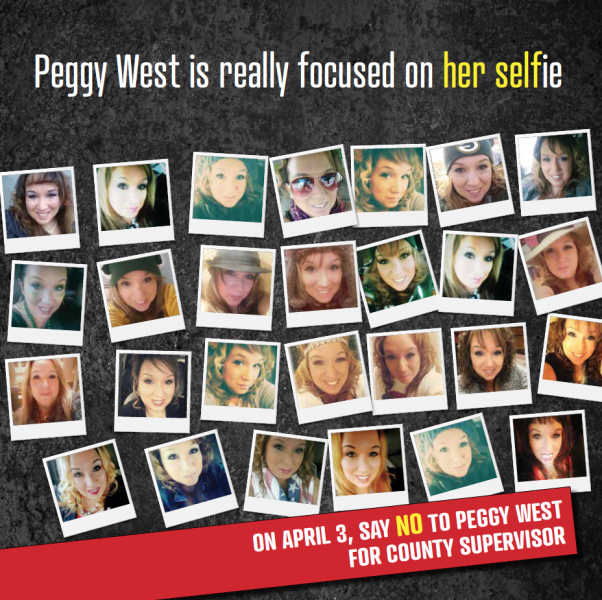 Direct mail piece by The Campaign Workshop with over 15 selfies of the candidate Peggy West