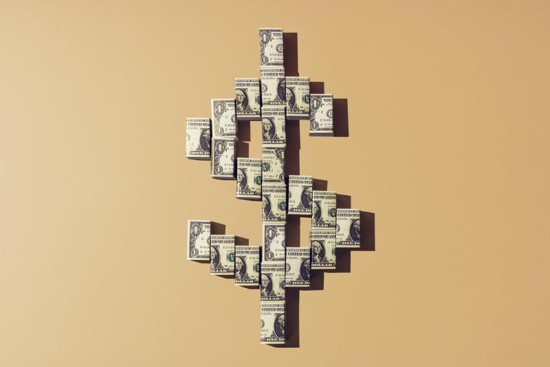 money symbol made out of money