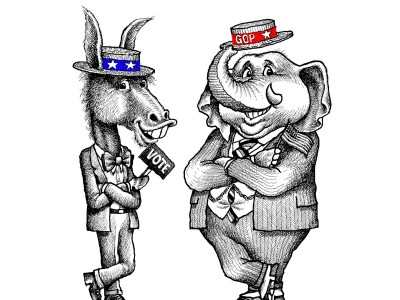 Drawing of elephant and donkey in republican and democratic colored hats