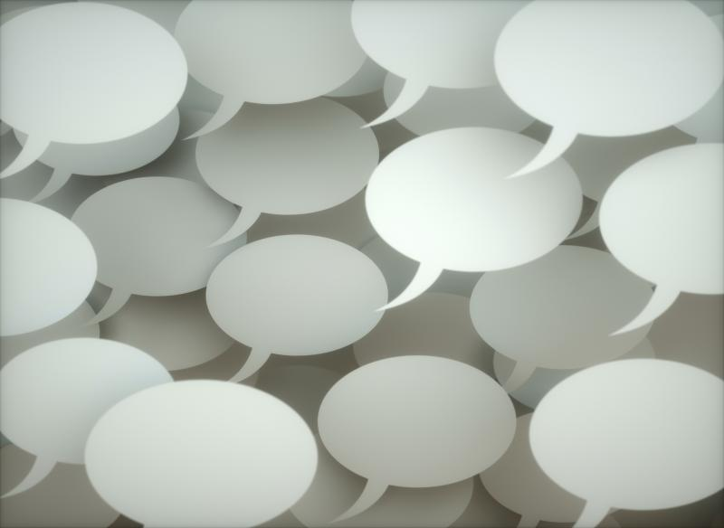 lots of white chat bubbles