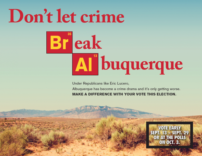 "Albuquerque mail piece that reads, ""Don't let crime break alburquerque"""