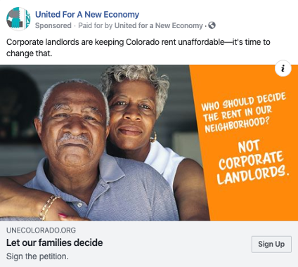 United For a New Economy ad