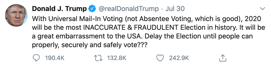 Tweet by Trump attacking mail-in voting