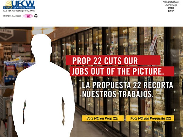 Prop 22 Cuts Our Jobs Political Direct Mail Ad