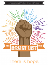Resist List 2019: fist with colorful confetti flying off of it